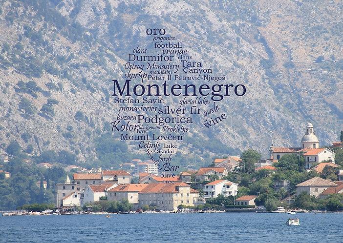 Montenegro WordCloud postcard