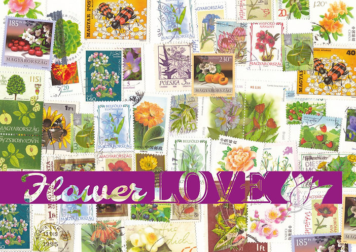 Flower stamps postcard