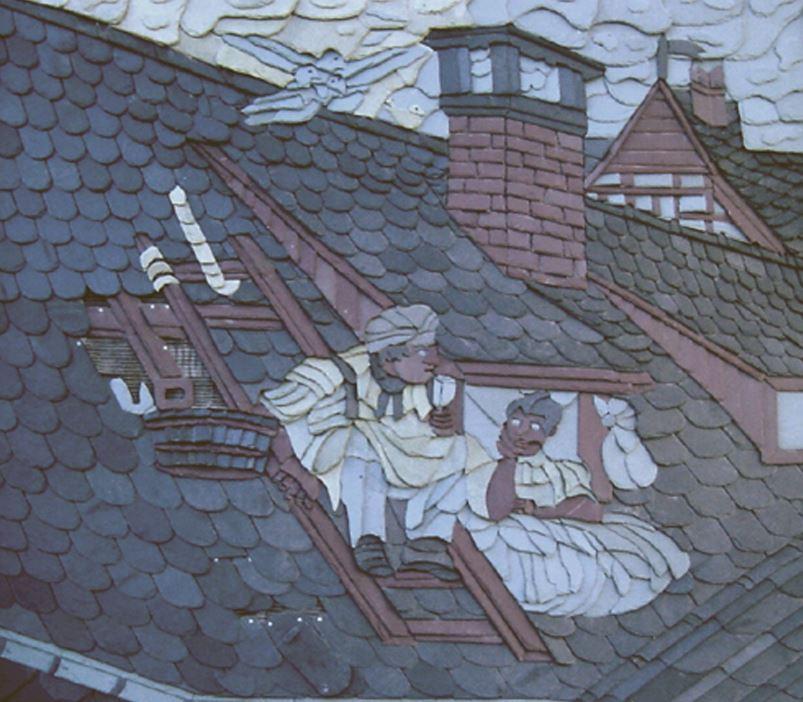 Dessin d'un toit sur un toit en ardoise de diverses couleurs