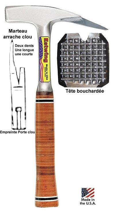Marteau Estwing E239MM Tête bouchardée, manche cuir, porte clou aimanté.