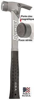 Marteau Estwing Aluminium manche noir, tête striée, ALBKM