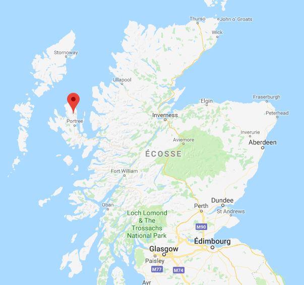 L'île de Skye ou l'on à découvert les traces de dinosaure.