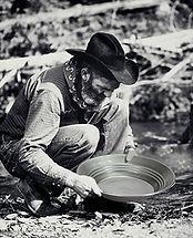 Chercheur d'or avec une batée métallique Estwing