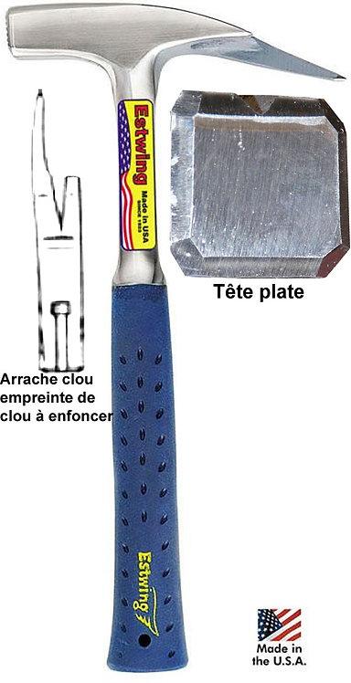 Marteau Estwing E3-239S Tête plate, porte clou, manche vinyle
