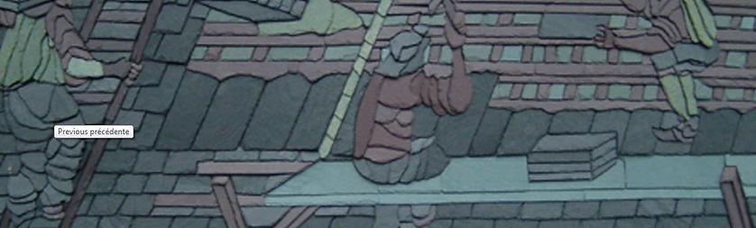 Dessin de couvreur sur un toit réalisé en tuiles d'ardoise