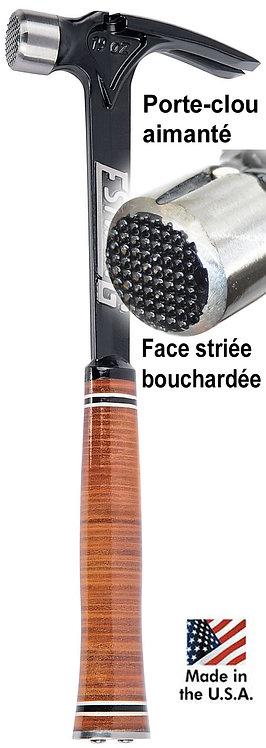 Marteau ultra léger Estwing E19SM pour charpentier manche cuir tête bouchardée