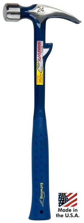 Marteau Estwing E6-24T, tête lisse, manche réducteur de choc, crochet de maintien