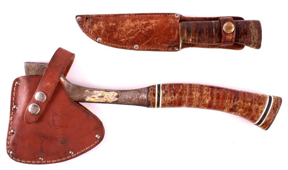 Hache et couteau estwing ayant bien servi
