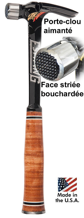 E15SM Marteau Estwing ultra léger tête bouchardée, manche cuir