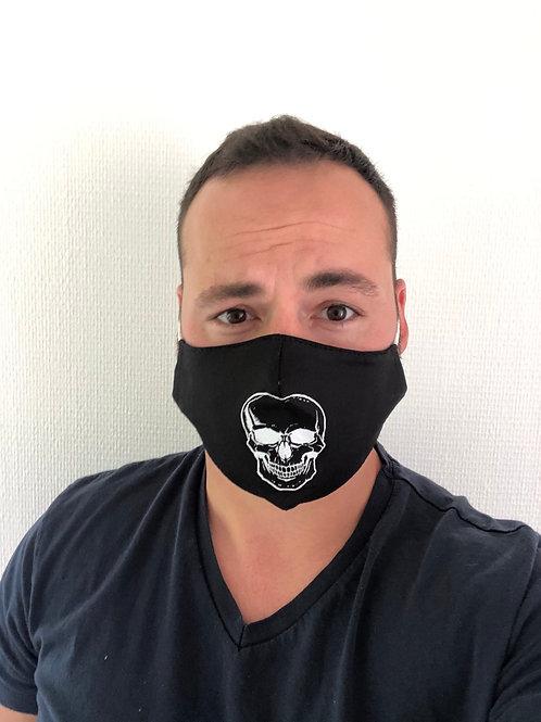 Masque HOMME en tissu noir tête de mort