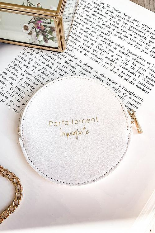 Porte monnaie rond blanc «parfaitement imparfaite»