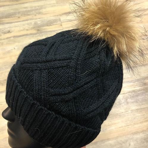 Bonnet noir pompons