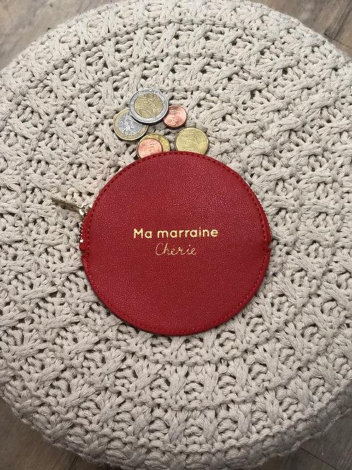 Porte monnaie rouge «Marraine chérie»