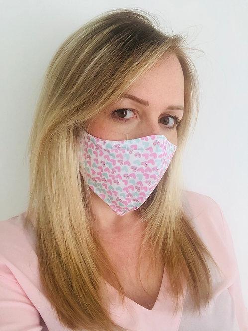 Masque en tissu CŒUR ROSE