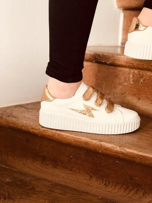 Baskets éclair blanche scratch doré Vanessa WU
