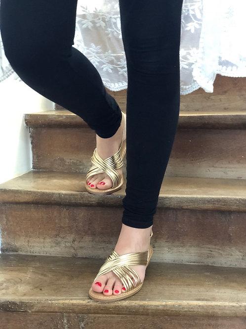 Sandales croisees dorés LOU