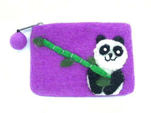 Vilten portemonnee met panda