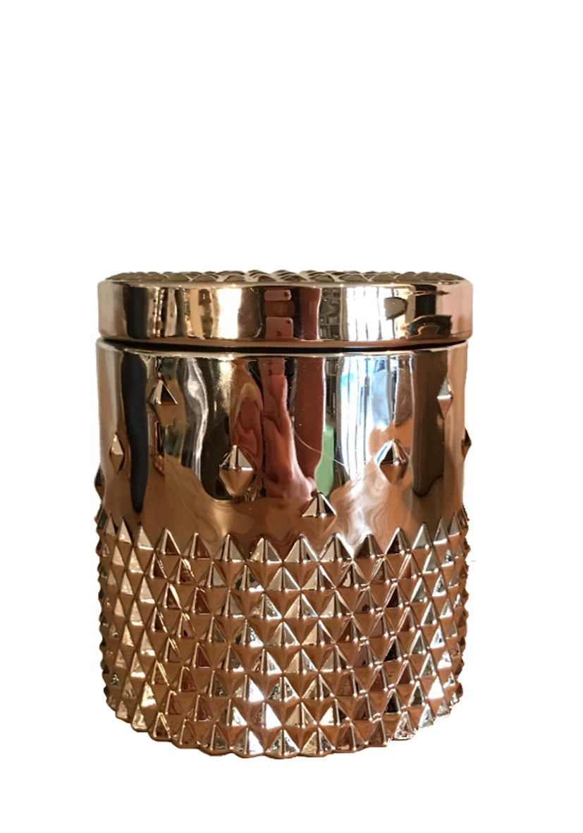 The Wooden Stud Rose Gold Candle