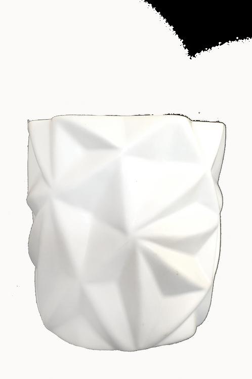 Geometric White Ceramic Candle 460gm