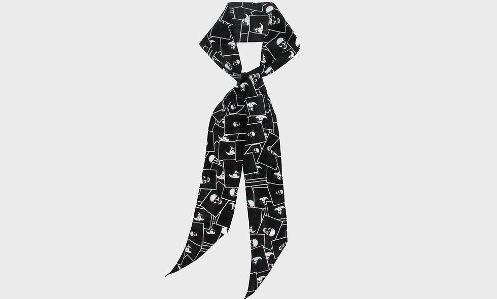 Framed skull print silk scarf