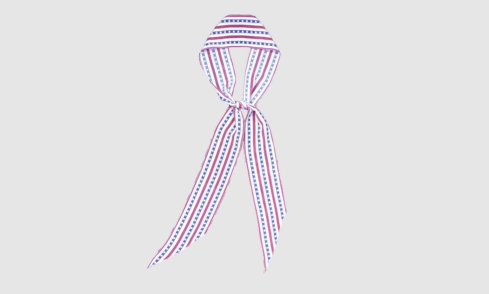 Stars & stripes print silk scarf