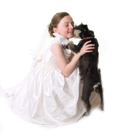 professional communion photography with dog in studio in your home