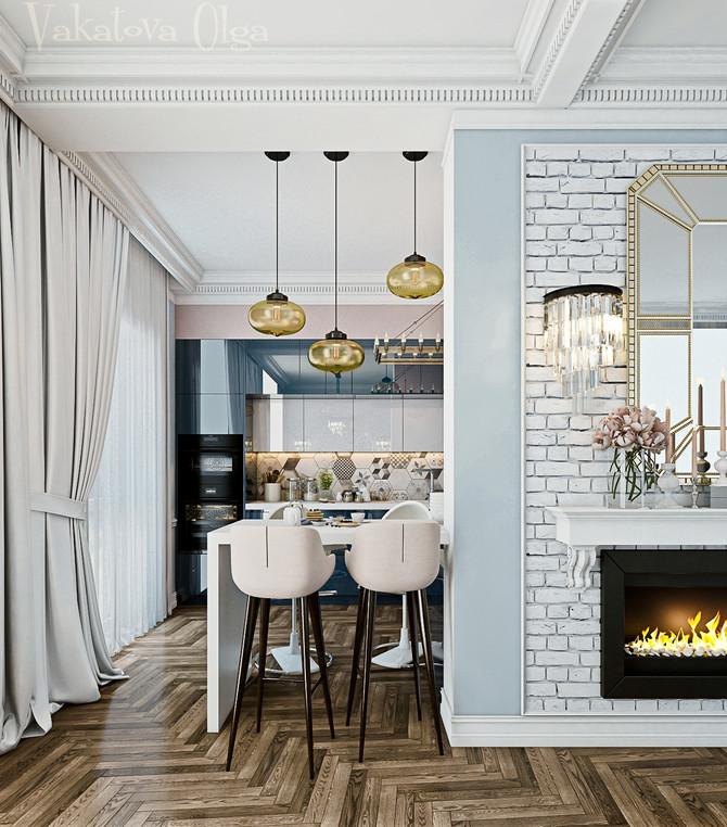 Интерьер кухни-гостиной в доме с панорамными окнами.