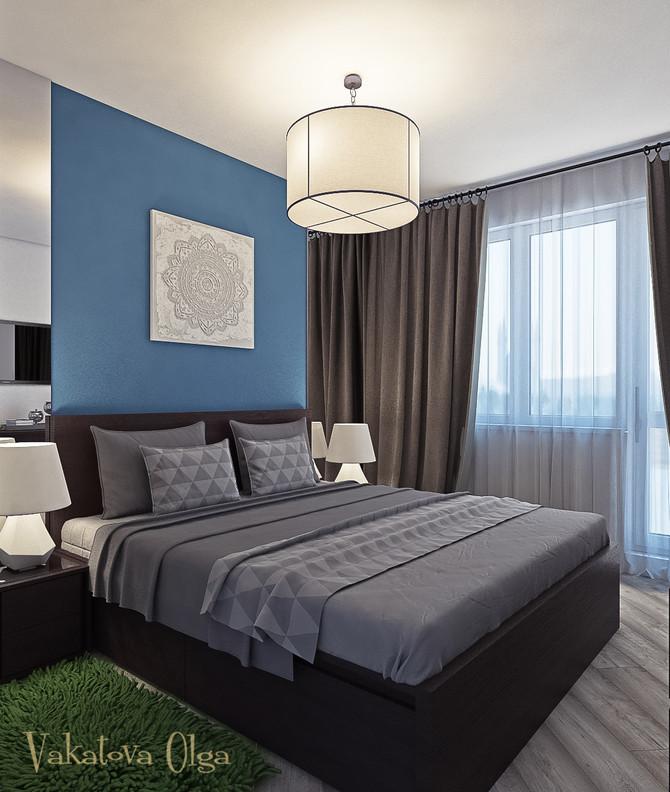 Спальня для молодой семьи в сочетаниях кобальтовый-синий , белый, кофейный.
