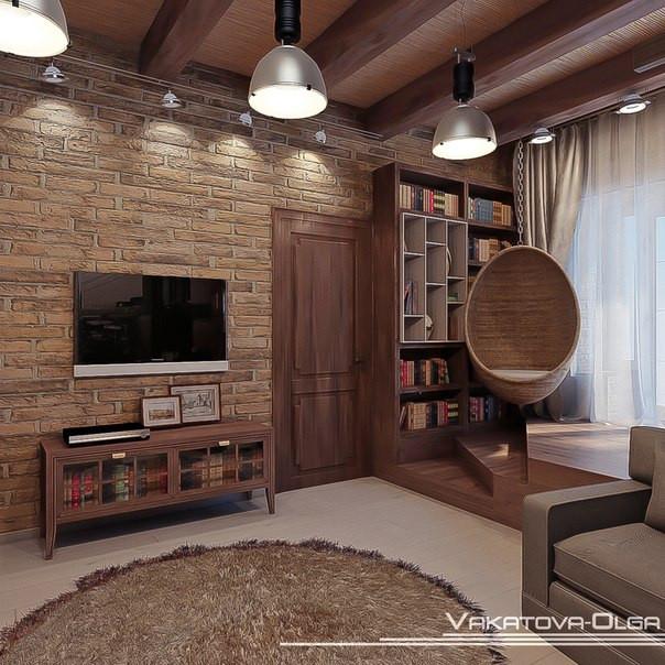 Интерьер комнаты для студента в стиле лофт.