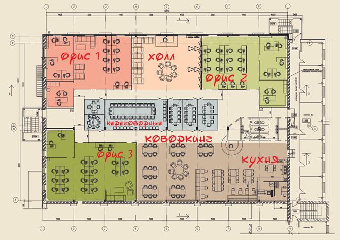 Планировка офиса на мансарде (1000 кв.м. )  Технопарк Авиатор . aviatorkzn
