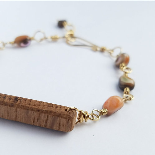 Coral Mother of Pearl Bracelet