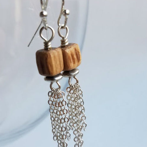 Rustic Bead and Silver Earrings