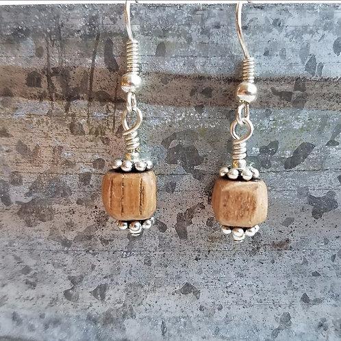 Charming Silver Barrel Bead Earrings