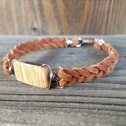 Rustic Suede & Barrel Bracelet