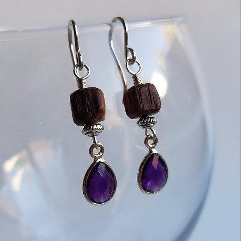 Sterling Silver Amethyst Cabochon Earrings