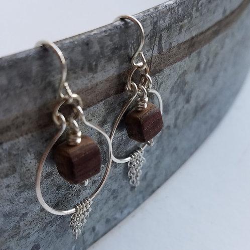 Silver Hoop Barrel Bead Earrings