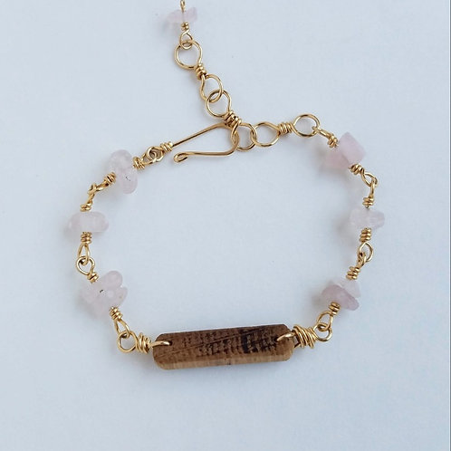 Rose Quartz & Gold Bracelet