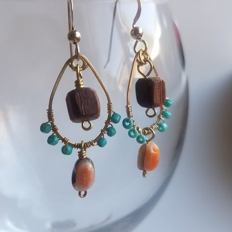 Unique Shell and Glass Bead Earrings