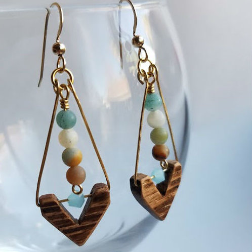 Chevron Barrel Bead Earrings