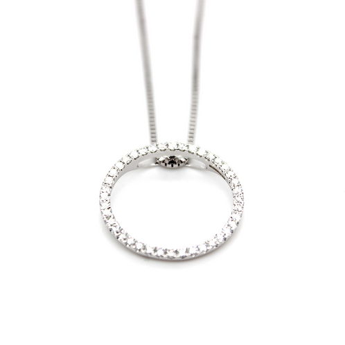 18ct white gold circle of diamonds pendant