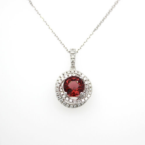 18ct white gold diamond  & tourmaline pendant