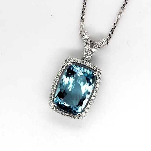 18ct white gold Aquamarine & diamond pendant
