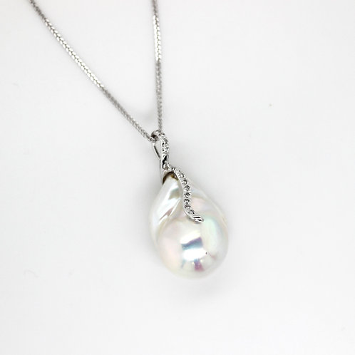 18ct white gold fancy natural baroque pearl & diamond pendant