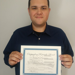Recipient of PRS Student Veteran Organization Award for Outstanding Research in Military Populations