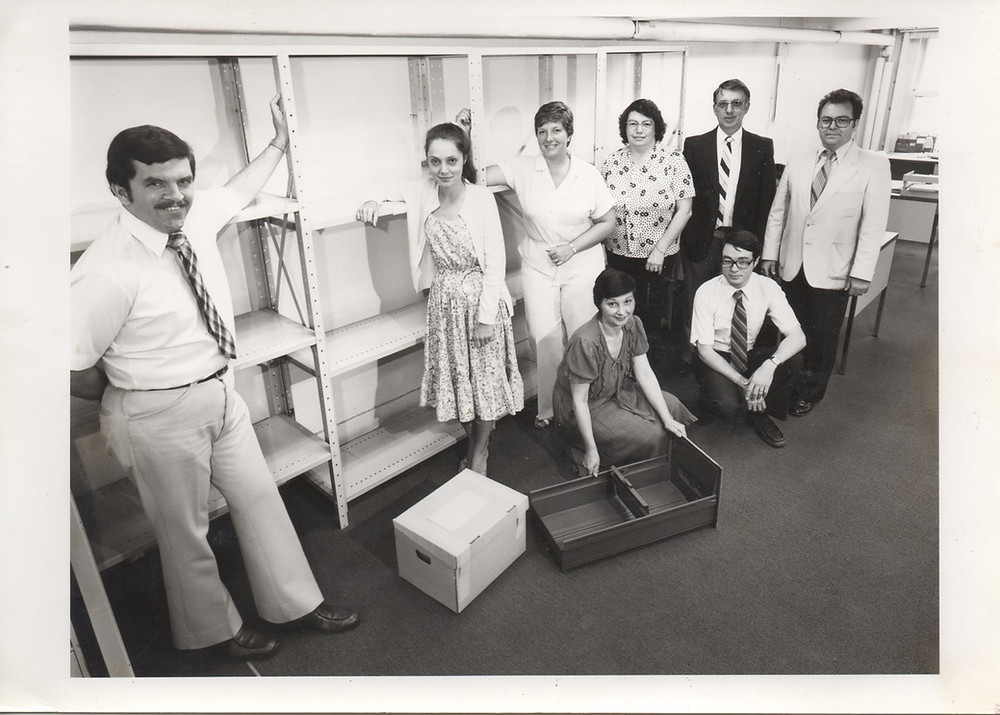 Left to right standing:  Clark Stewart; Lorraine Bigrigg; Anonymous; Betty Oberski; Lloyd Howarth; Doug Simpson. Kneeling:  Norma Wright and me Ted Smith. Photo by Boschler