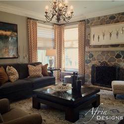 Gold and grey family room