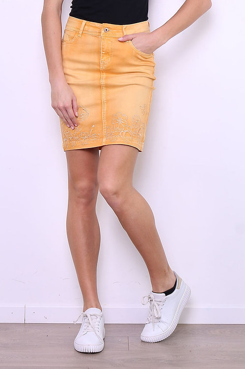 SKIRT - JUPE BRODERIE COULEUR OCRE ON525JB