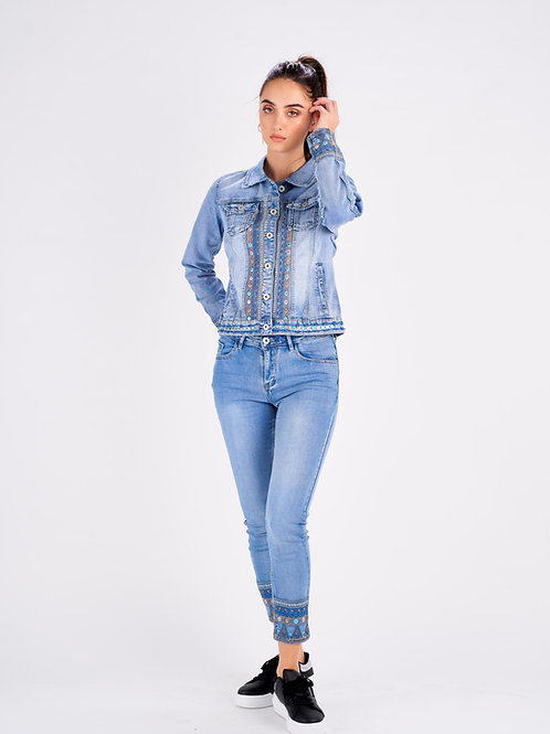 EMBROIDERED DENIM TROUSERS - JEAN BRODÉ