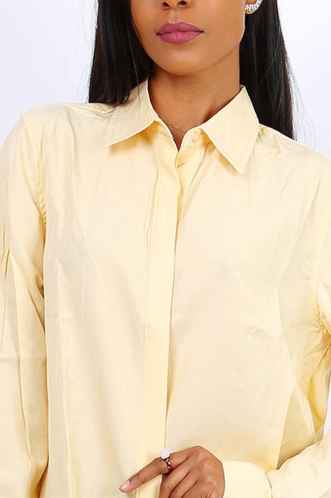 YELLOW SHIRT 100% COTTON - CHEMISE JAUNE 100% COTON