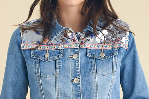 DENIM CHERRY BLOSSOMS JACKET - VESTE EN JEAN FLEURS DE CERISIER